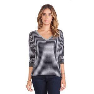 Joie   Talula V Neck Sweater In Blue & Grey Stripe